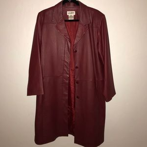 Red Trench Leather Jacket!